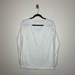 Lou & Grey Ivory Embroidered Pullover Sweater